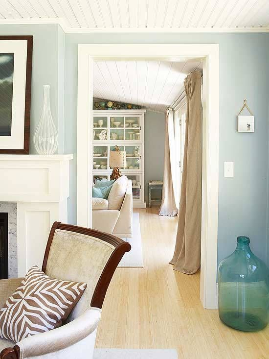 Spa Blue and Sandy Linen Color Scheme, even has my beach glass and pewter accent room, and those t&g ceiling boards <3