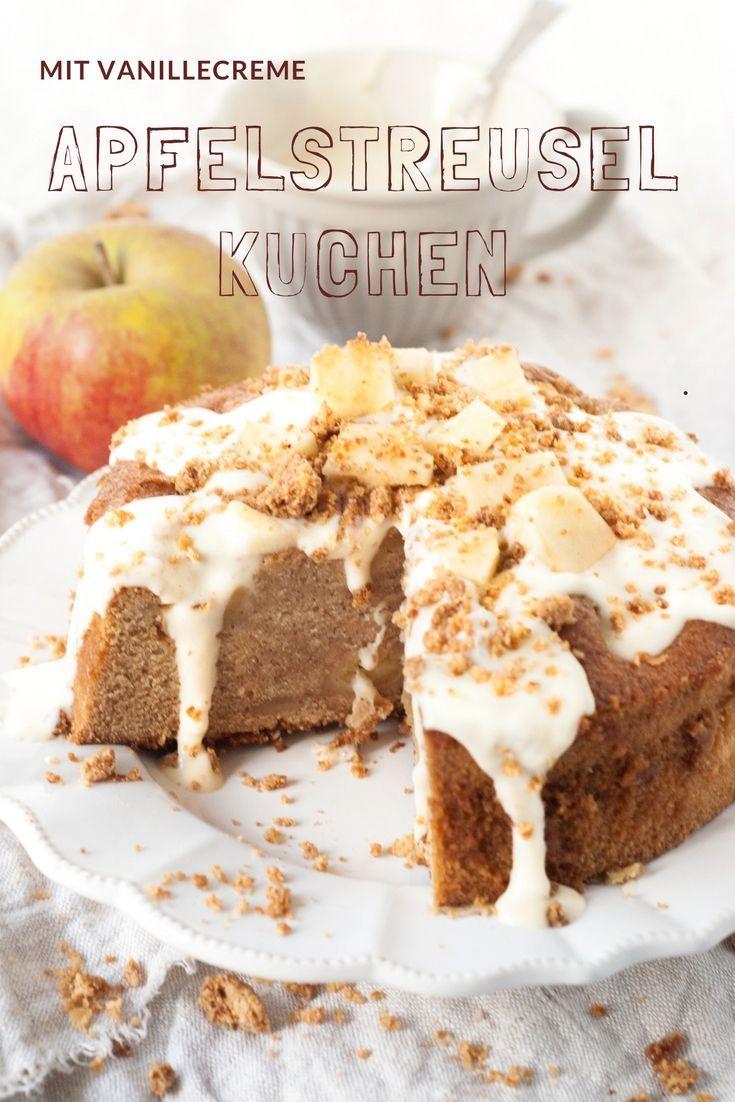 Kuche Rezepte: Apfelstreuselkuchen von herzelieb. Apfelkuchen mit Streusel und einer leckeren Creme.  #foodblog #foodblogger #einfach