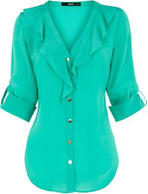 I love this shirt, especially the color.: Ruffles Blouses, Colors Shirts, Sea Foam, Buttons Up, Silk Ruffles, Teal Blouses, Foam Green, Super Cute, White Jeans