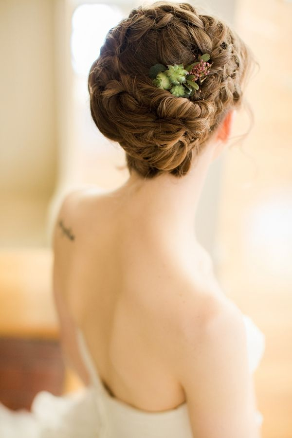 Braided bridal updo with succulents