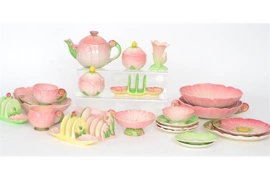 Lot 216 - A large collection of assorted embossed Carlton Ware, in the main formed as pink flowers,
