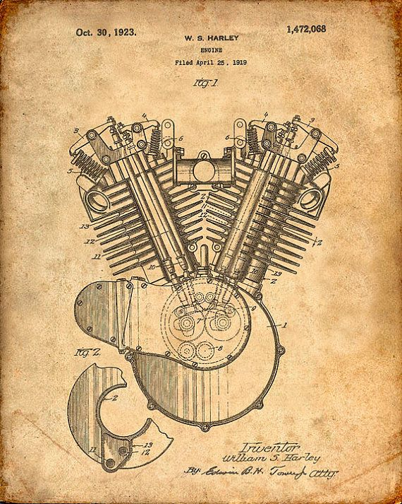 Patent Print of a Harley Motorcycle Engine Art by VisualDesign