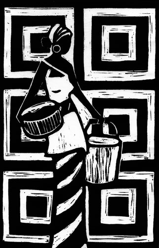 Lino-cut print of an African woman carrying baskets.