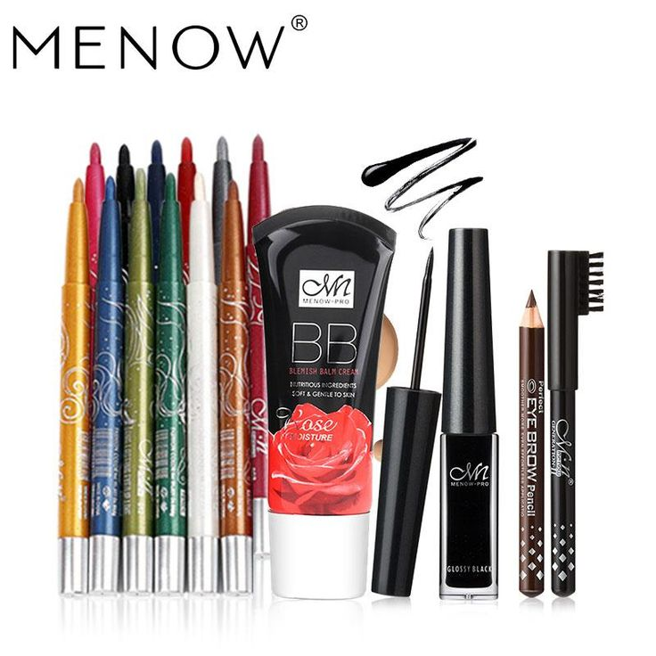 MENOW Brand Make up set 12Color/Set Waterproof Eyeliner Pencil & Liquid Eyeliner