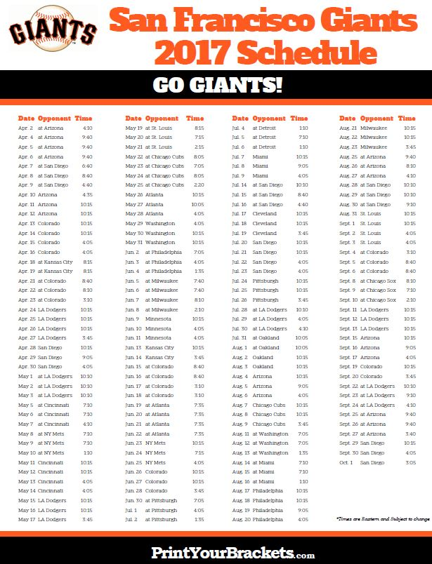 2017 San Francisco Giants Schedule