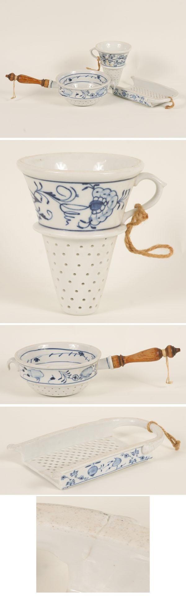 German Blue Onion Porcelain Grater Strainers 3pc   Antique Helper