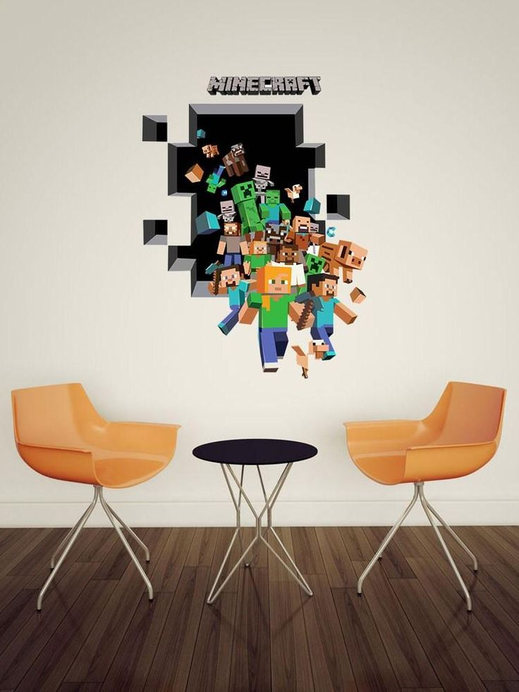 2015 new minecraft wall stickers creeper enderman for Bedroom 3d wall stickers