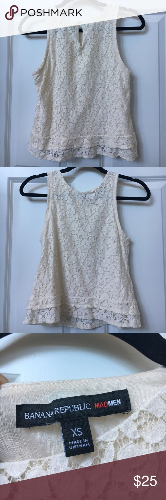 Cream colored lace tank top. Banana Republic From the Banana Republic Mad Men collection. Size XS  Shoulder to shoulder: 11 inches.  Bust: 12 inches Tops Tank Tops