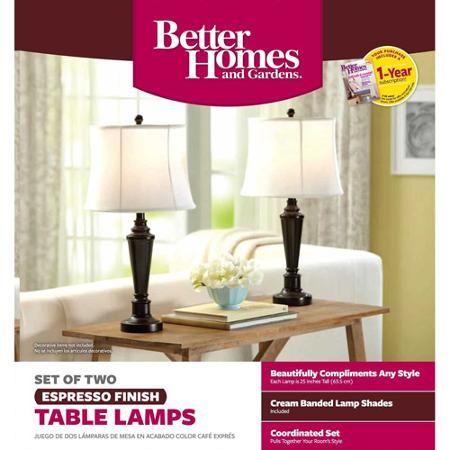 Better Homes and Gardens Transitional Lamp, Dark Bronze Finish, 2pk