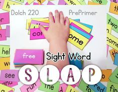 SIGHT WORD SLAP-simple Sight Word Slap Game for children to practice PrePrimer Dolch 220 words.Download Game -FREE<3