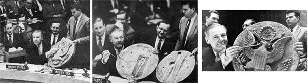 The 1946 Great Seal Bug Story:  The US ambassador to the USSR was Averell Harriman. The Russians had Soviet school children present him with a two foot hand craved great seal of the US which he hung in his office. In 1952, a countermeasures survey revealed that the great seal contained a bugging devise. That means that the Soviets were able to eavesdrop on the U.S. ambassador's conversations for six years. On May 20th 1960, Ambassador Henry Cabot Lodge, Jr. revealed the great seal bug to the…