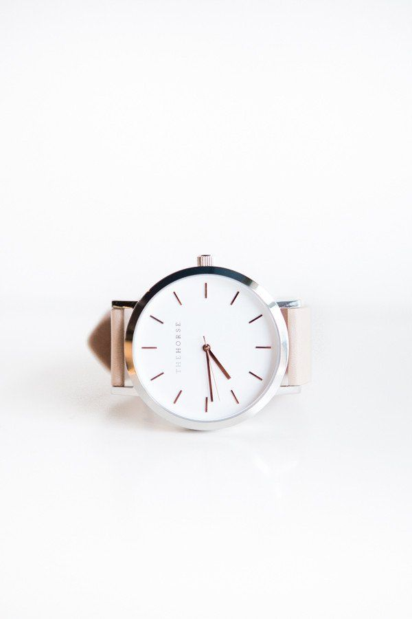 The Horse Leather Watch - White Face, Light Tan Band, rose gold indexing  A simple take on the classic time-teller. Featuring a polished stainless steel case...
