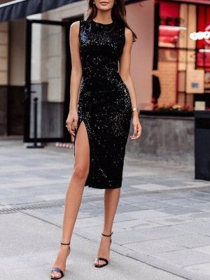 Sequins Side Slit Slinky Bodycon Dress