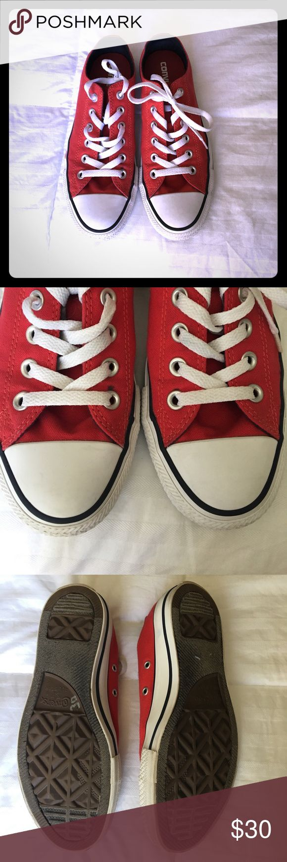 Red Converse Shoes Clean red converse! • Unisex shoe (size 5 in men's, size 7 in women's) • Only imperfection has been photographed Converse Shoes