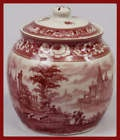 red & white toile porcelain ginger tea jar: Red And White, Gingers Jars, Toile Black, White Canvas, Teas Jars, Gingers Teas, Red Jars, Timeless Toile, Teas Stuff