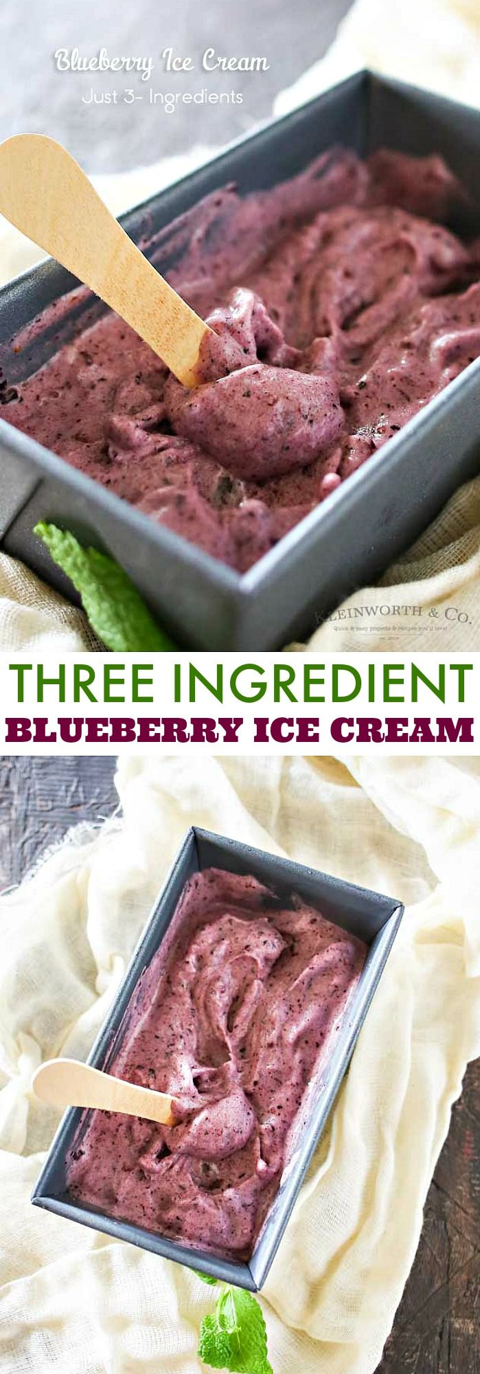 This Blueberry Ice Cream is a delicious dairy-free, 3-ingredient recipe with just fruits and honey. It takes just a couple minutes an a blender! It's a nutritious dessert that you won't feel guilty about!