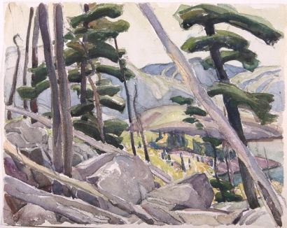 Untitled (La Cloche Landscape with Pines) | Carmichael, Franklin (watercolour on paper; c. 1945)