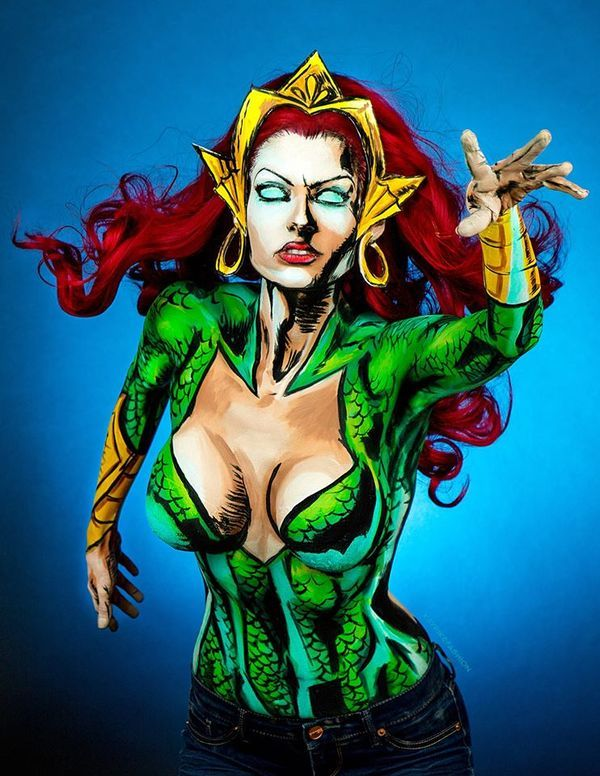 Photo Flash: Artist Kay Pike Transforms Her Body Into Comic Figures Using Body Paint