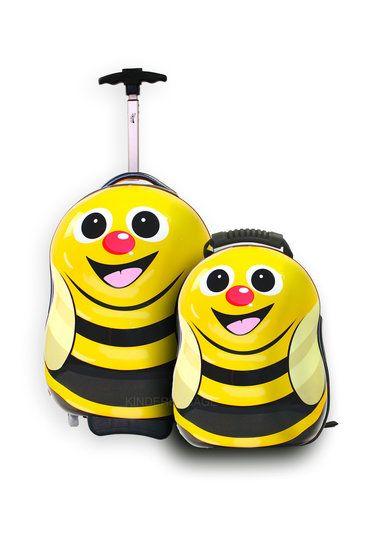 Trolley en rugzak Cazbi de bij   Cutie and Pals - Kinderkoffers bij Kinderbagage