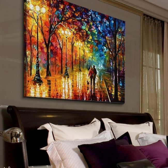 Colorful Abstract Art In A Bedroom Night Fantasy By Leonid Afremov Available At Great Big Big Canvas Art Colorful Abstract Art Contemporary Landscapes Art