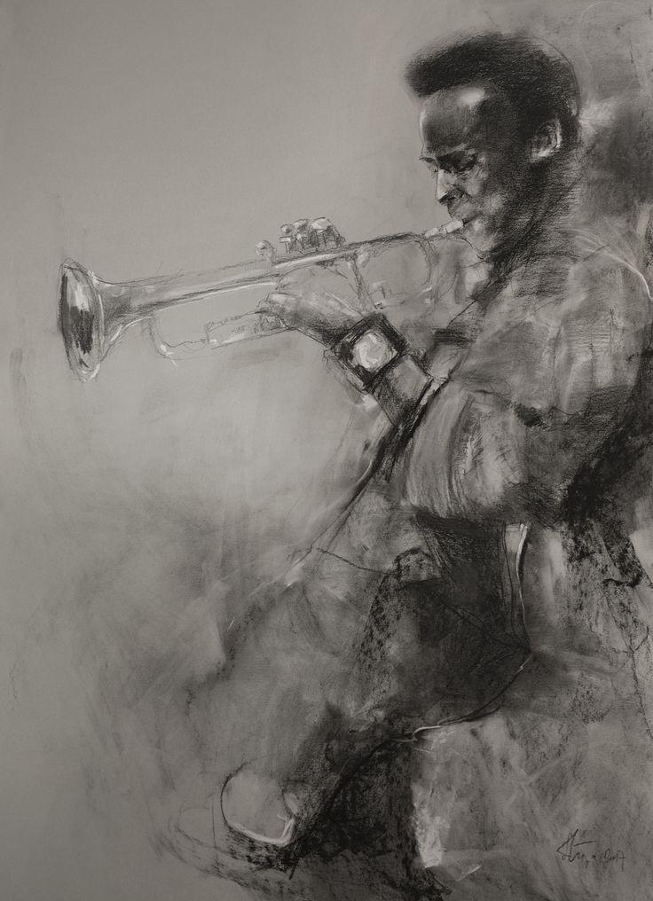 Miles Davis crayon,pastel
