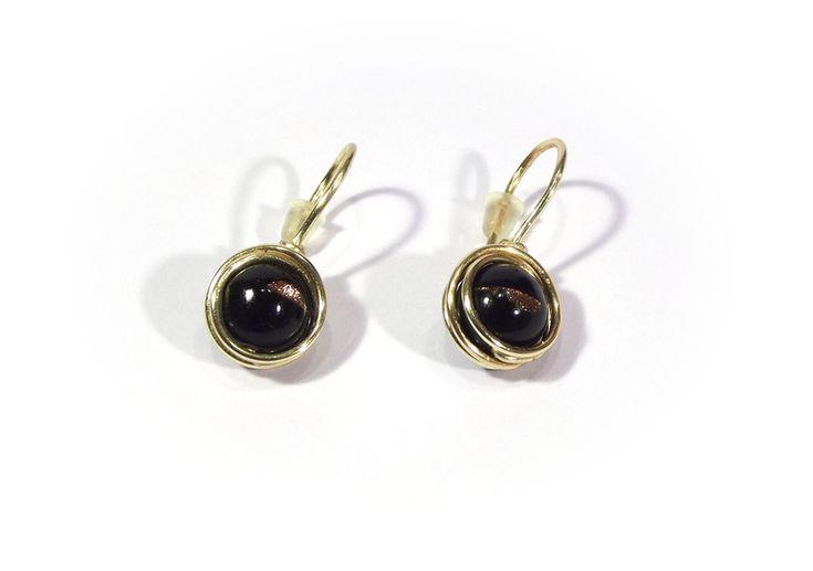 Earrings - black agate with goldstone from betulek by DaWanda.com