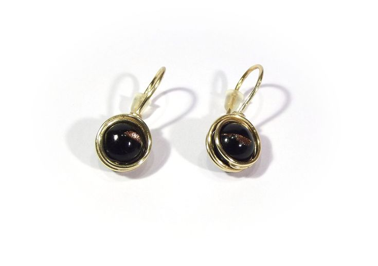 Earrings - black agate with goldstone from betulek by DaWanda.com