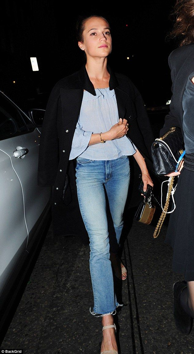 Alicia Vikander is casual chic in sheer blouse and denim | Daily Mail Online