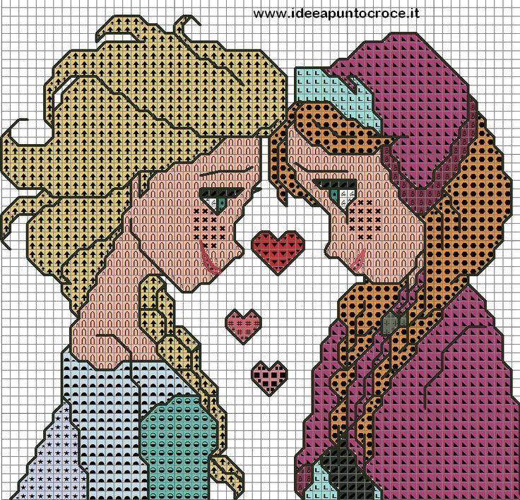ANNA E ELSA FROZEN PUNTO CROCE by syra1974.deviantart.com on @deviantART