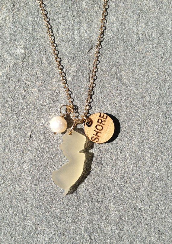 Gold New Jersey Sea Glass Necklace on Etsy, $45.00