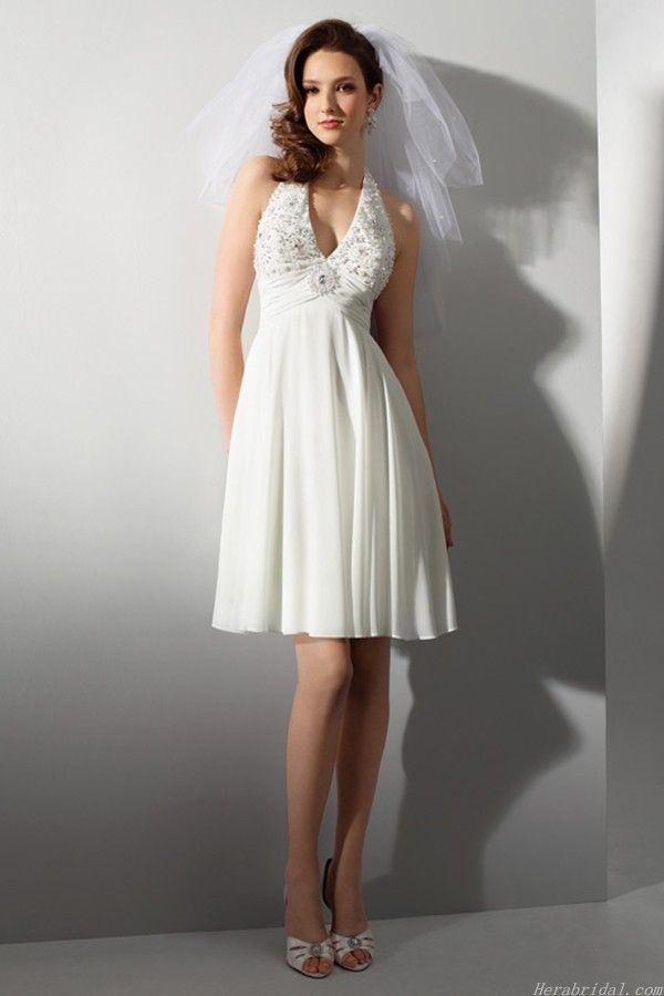 A fashion ivory chiffon wedding dress fits for garden, beach, yacht and other outdoor wedding. The designer wedding dress features a halter strap and v-neckline. Sophisticated lace applique enhanced the bust. Zipper up sexy open back. ( Note:Only dress included in original sell, veil, necklace and other accessories not included ) $108.00