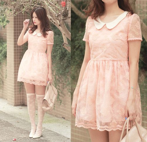 Absolutely cute pastel pink lace dress with the white peter pan collar.