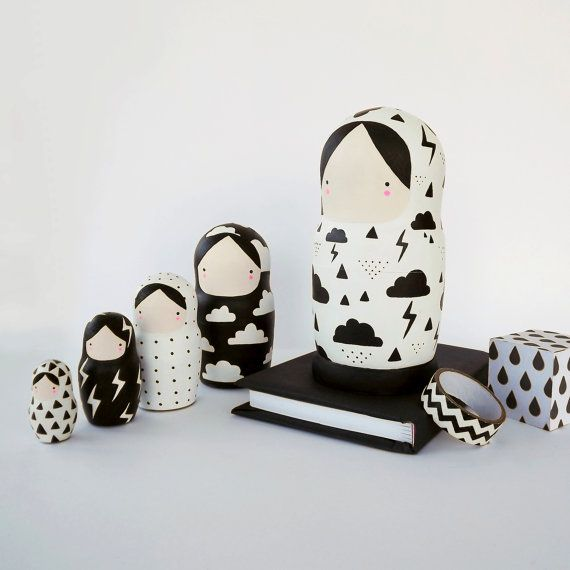 Black and White Nesting Dolls Matryoshka Weather by SketchInc