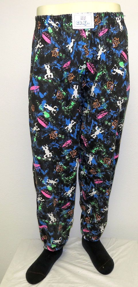 vtg ny crazee neon black surf splatter #80s mc hammer pants m muscle pink green from $40.0