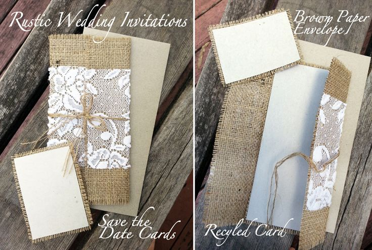 Matching Save The Date And Wedding Invitations: Rustic Country Hessian Wedding Invitations Or Menu Holders