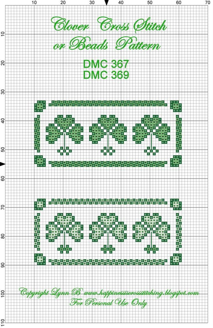 Knitting Chart No Stitch : Cross stitch clovers no color chart available just use