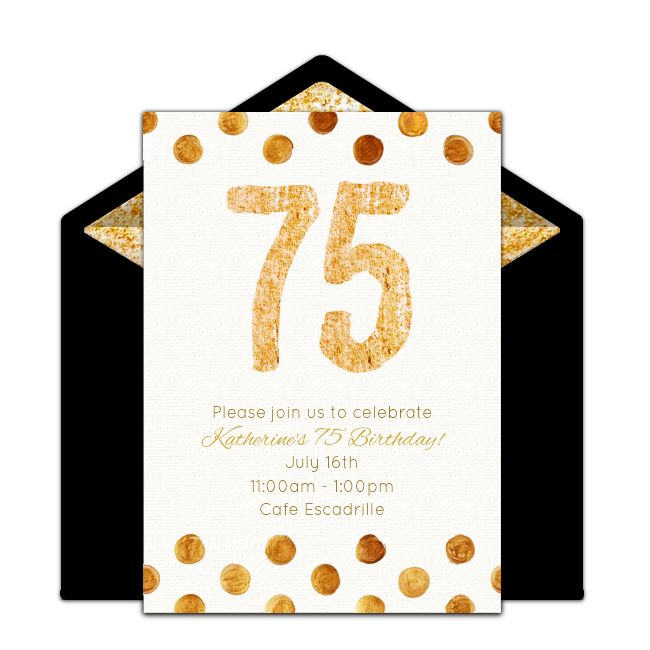 Free Golden 75 Invitations Birthdays 75th Birthday And