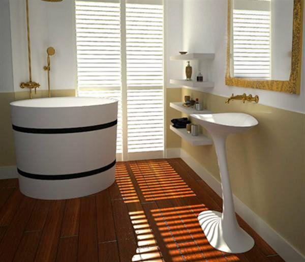 Вы бы решились на ванну в виде бочки?  #ванная #ванна #ваннаякомната #сантехника #маленькаяванная #маленькаяваннаякомната