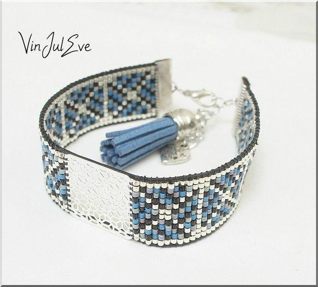 bracelet Loom argent bleu gris noir 1