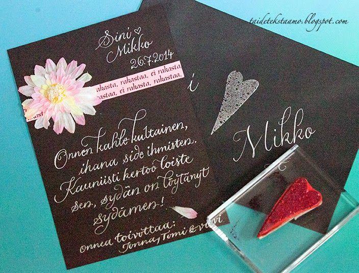 Black and pink card with silver lettering  Mustaa ja pinkkiä kortissa, hopeisella tekstauksella höystettynä <3