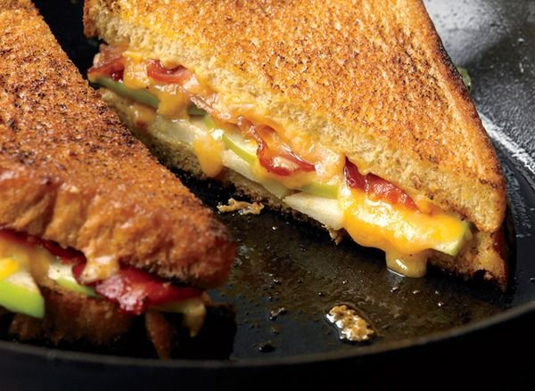 The combo of apples, bacon, and sharp cheese isn't just delicious, it contains less than half the calories of most other grilled cheese sandwiches out there.