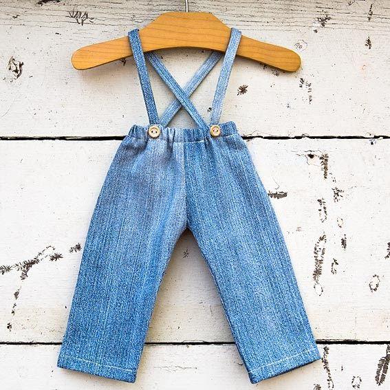 """PurePixie, the blog: DIY: 18"""" doll pants with suspenders Tuto : pantalon à bretelles pour poupée en tissus de 46 cm"""