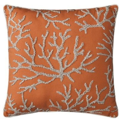 Threshold Embroidered Coral Toss Pillow (18x18