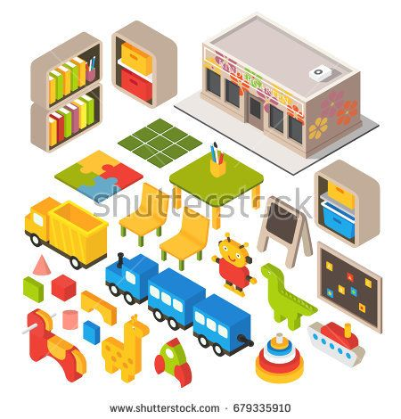 Vector isometric kindergarten preschool. Kids classroom. 3d building icon set