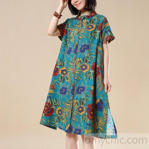 2018 casual green prints cotton shirt dresses plus size linen mid tops