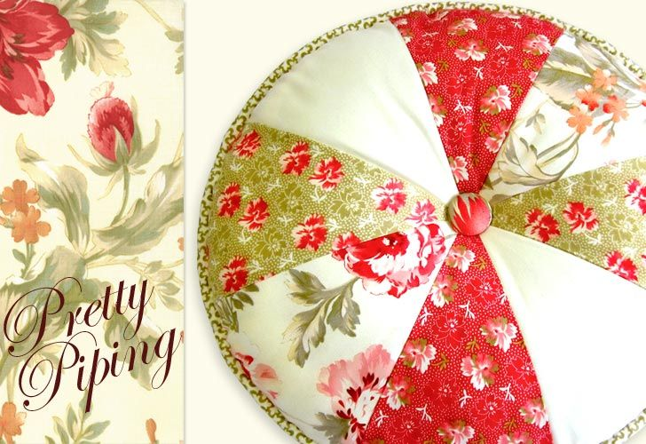 Butterscotch & Rose Pretty Piped Pillow #1 - Round 'n' Round