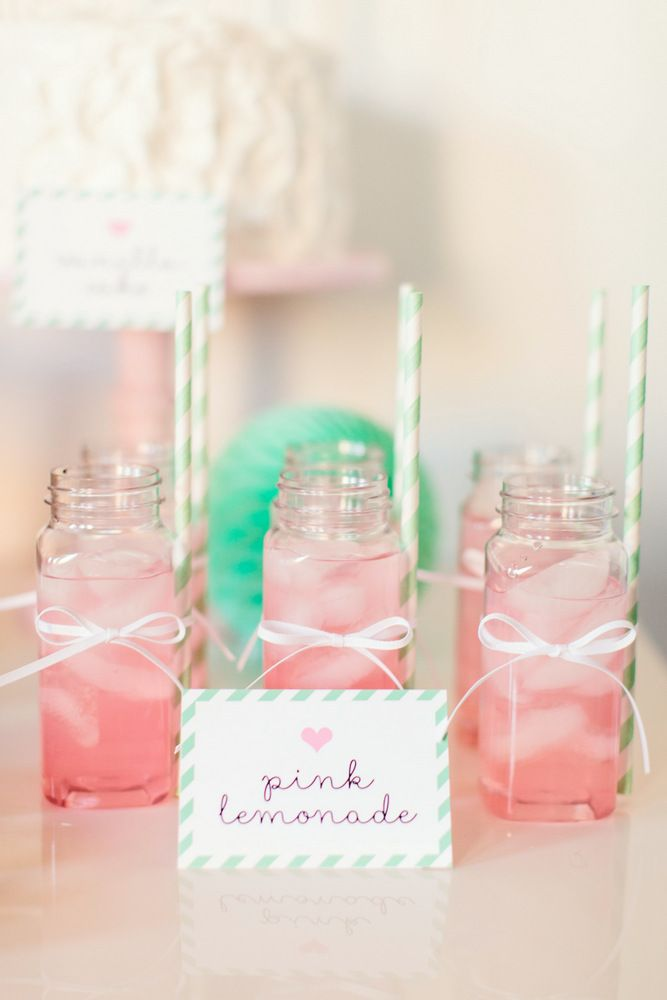 The TomKat Studio | Kate's Sweet Dreams Pajama Party | Pink Lemonade in French Square Bottles with Mint Straws Find them here: http://shoptomkat.com/item_508/French-Square-Plastic-Bottles--8-oz..htm