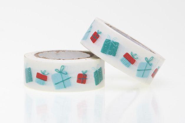 Masking Tape Geschenke: Papierklebeband in Weiß mit Geschenken in den Farben Rot, Blau und Türkis.  Super für Geschenkverpackung und Scrapbooking, zum Verzieren und Dekorieren von...