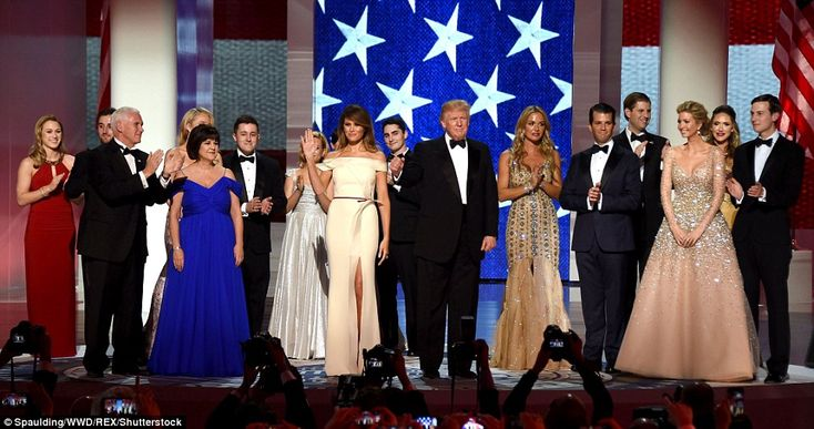 At the first ball of the night, President Trump invited his adult children on stage after his first dance with the first lady at the first of three inaugural balls in Washington on Friday night. Vice President Pence and his wife Karen also included their family