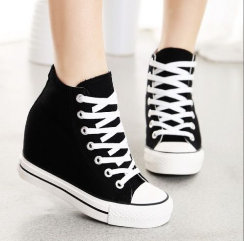 3231597c22b1ae Casual Womens Lace Up Hidden Wedge Platform High-Top Sneakers Canvas Shoes